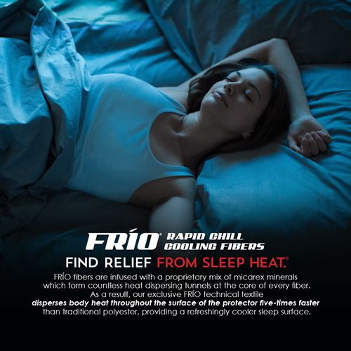 frio rapid cooling pillow and woman sleeping